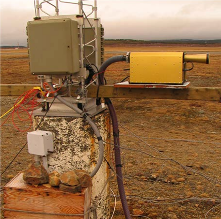 Image of an FM-120 Fog Detector in a field setting