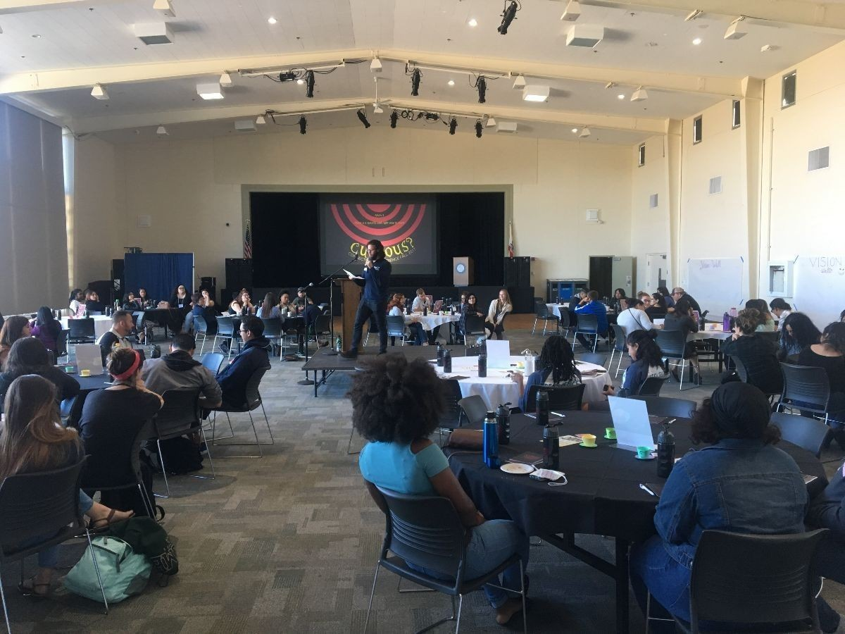 Past leadership conference, students engaging with speaker