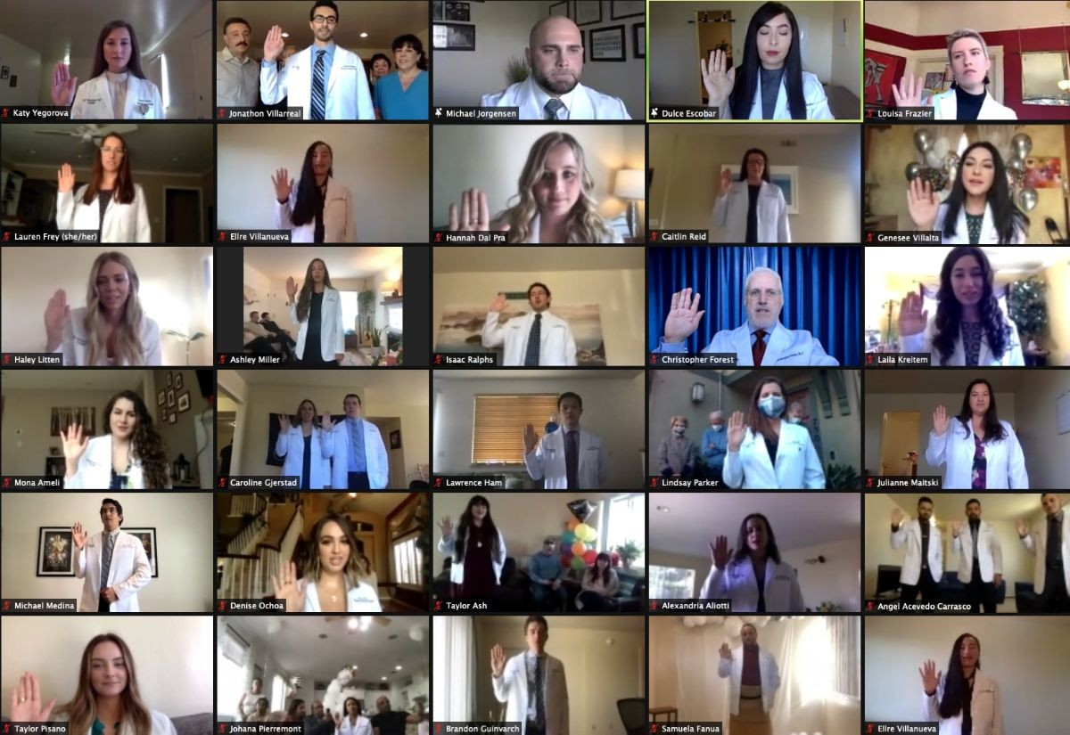 Screenshot of physician assistant students reciting an oath
