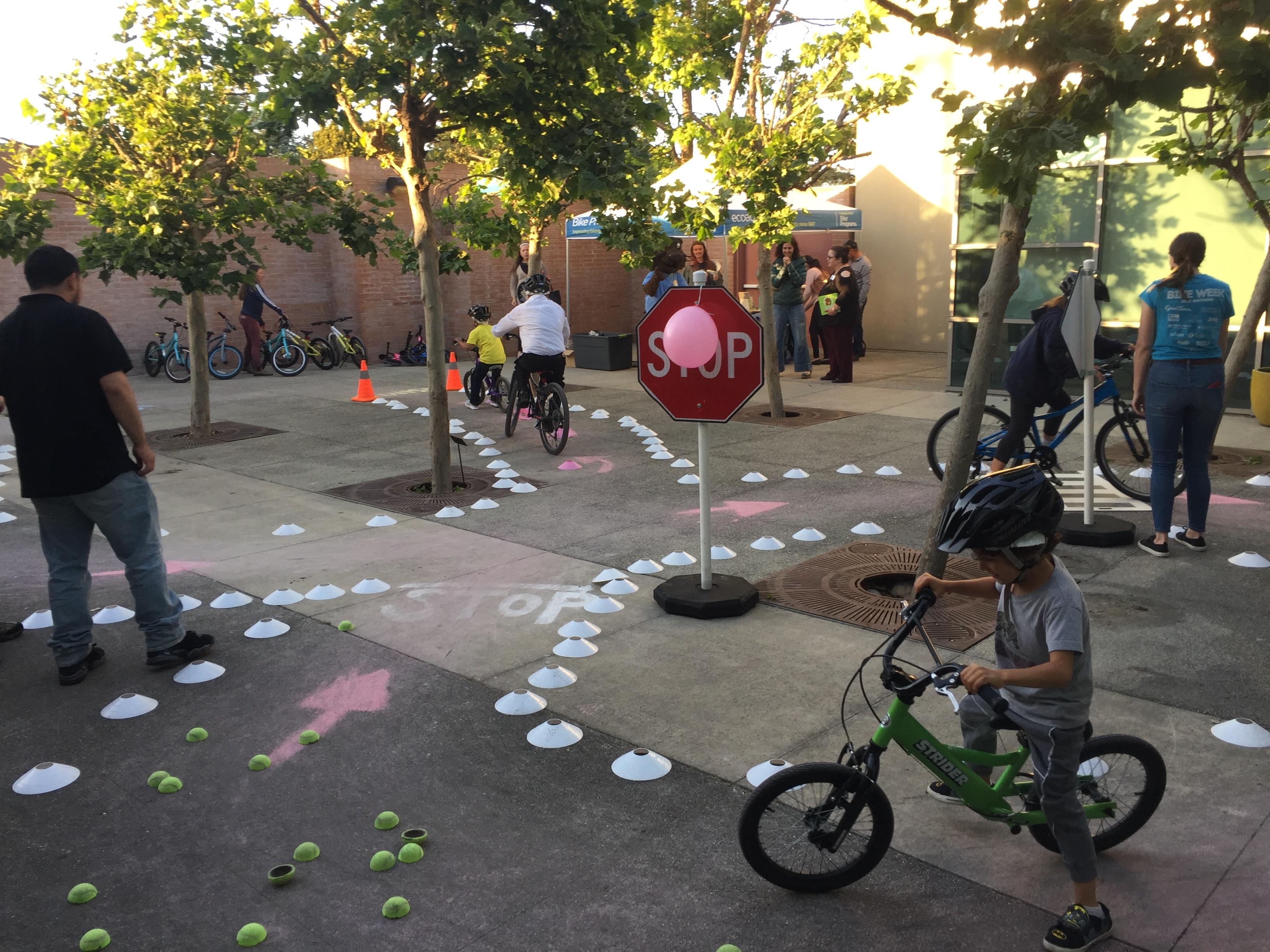 Kids riding on bikes