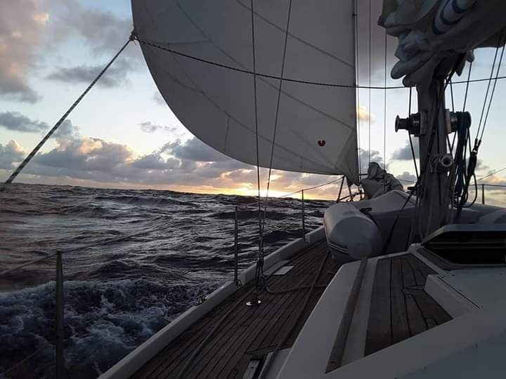 View from the side of the sail boat