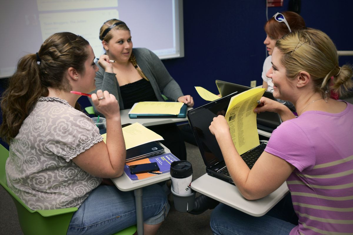 Students holding a group study session.