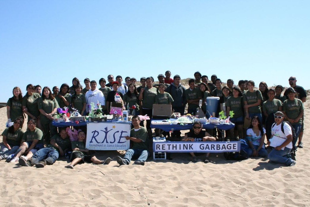 RISE Students with their Recycled Art projects at a Beach Cleanup Field Trip
