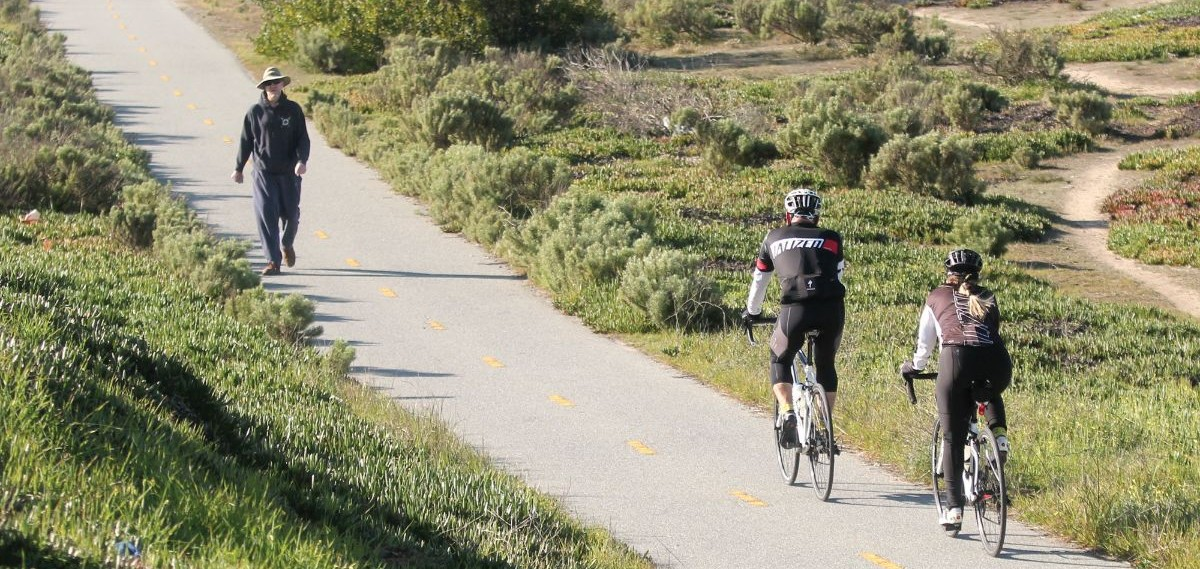 hiker and bikers on same trail