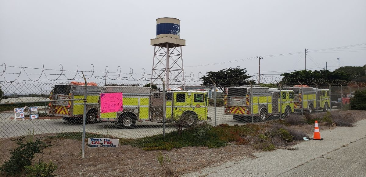 Fire engines parked near Lot 59.