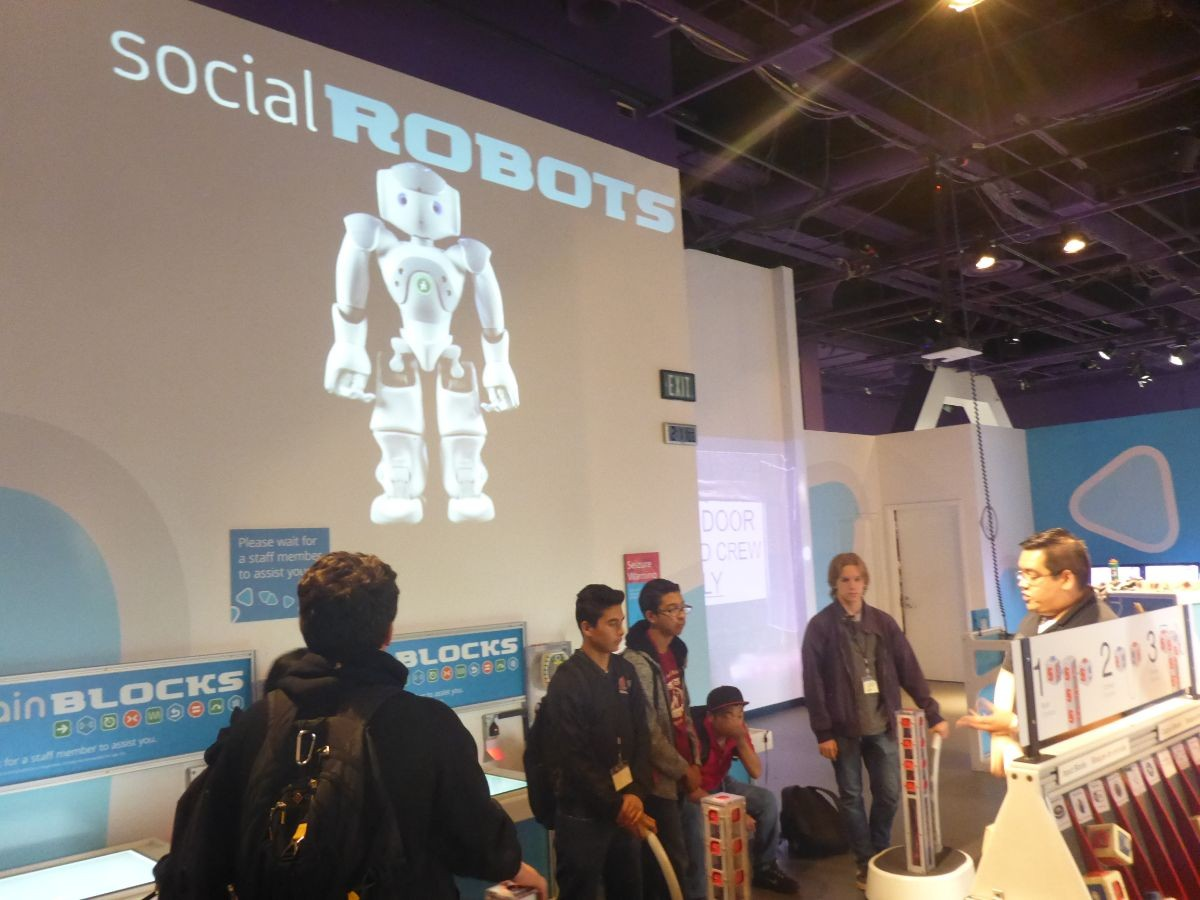 """Students are given a presentation on """"Social Robots""""."""