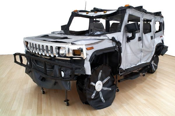 Cabrera artwork hummer vehicle made out of fabric