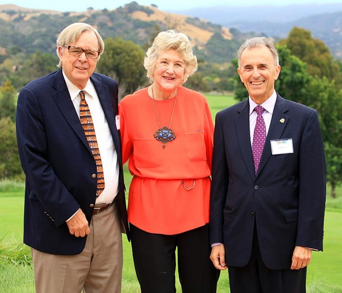 Peter Smith, CWD Honoree Mary Kay Crockett, and President Eduardo Ochoa