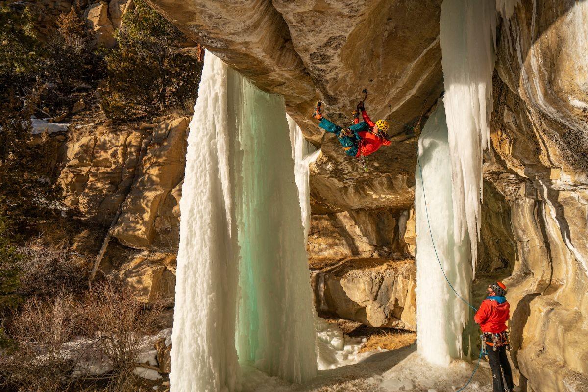 Nikki ice climbing