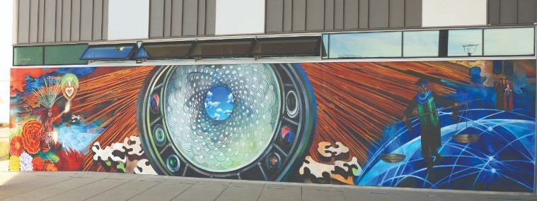 """""""Skylight"""" mural at entrance of new liberal arts building"""