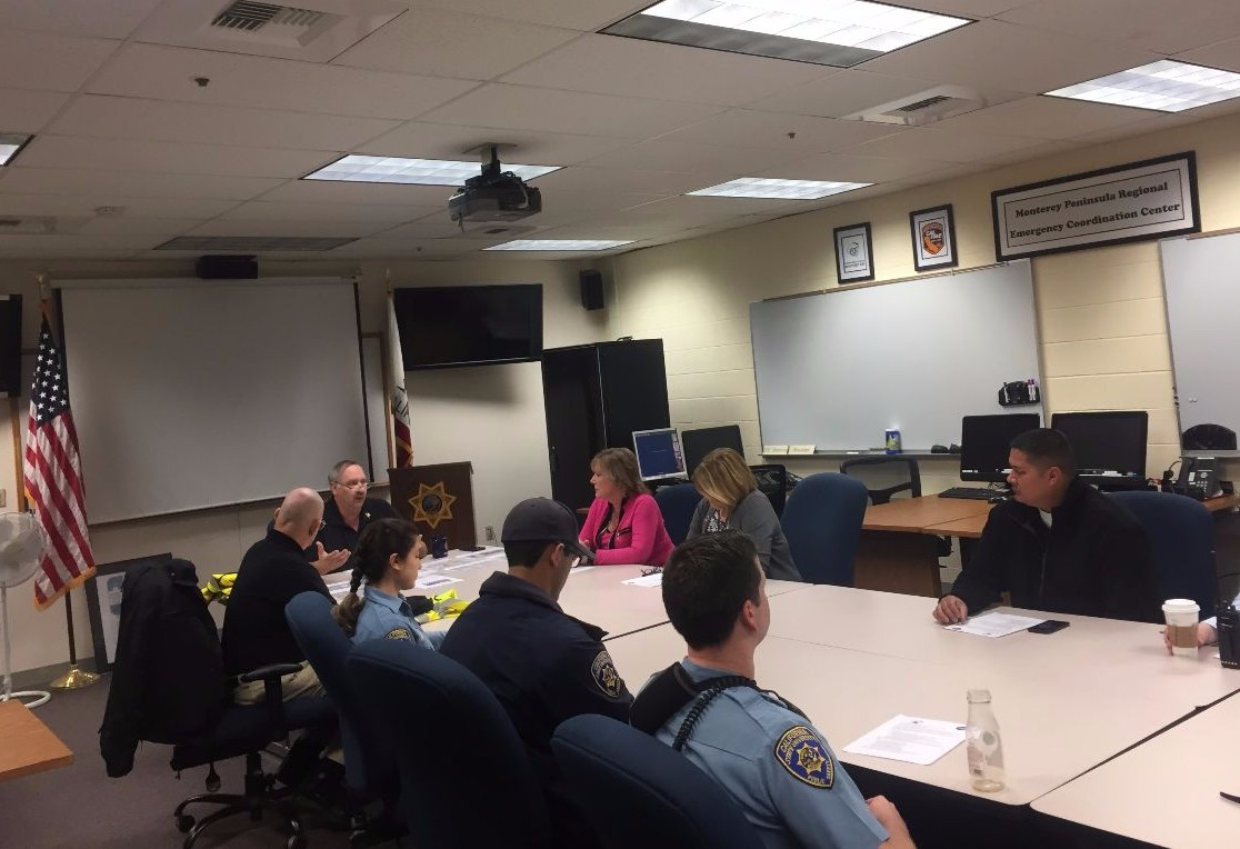 CSUMB Emergency Manager Ken Folsom briefs University Police Department staff