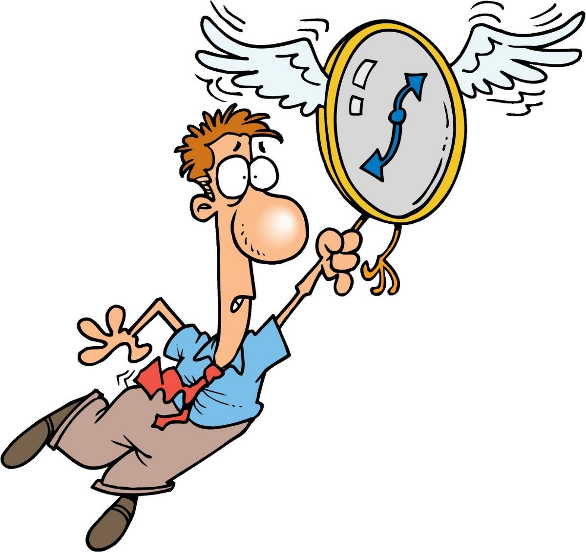 Flying clock dragging person