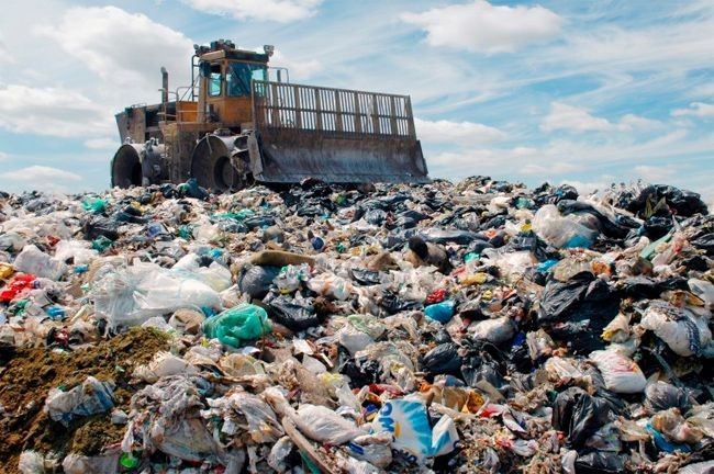 Image of trash in a landfill