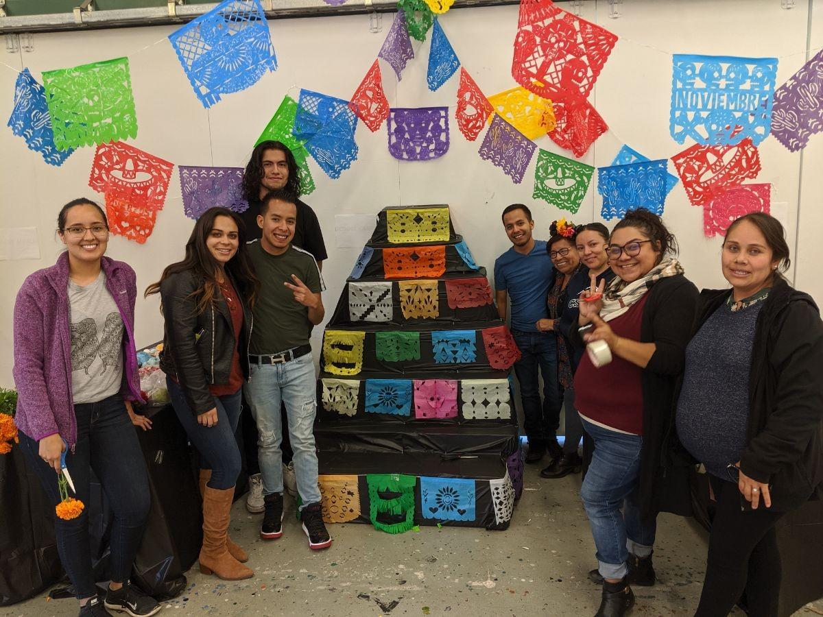 CSUMB Spanish Club members celebrating their Ofrenda at VPA