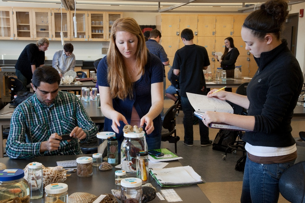 Students in biology lab at California State University Monterey Bay