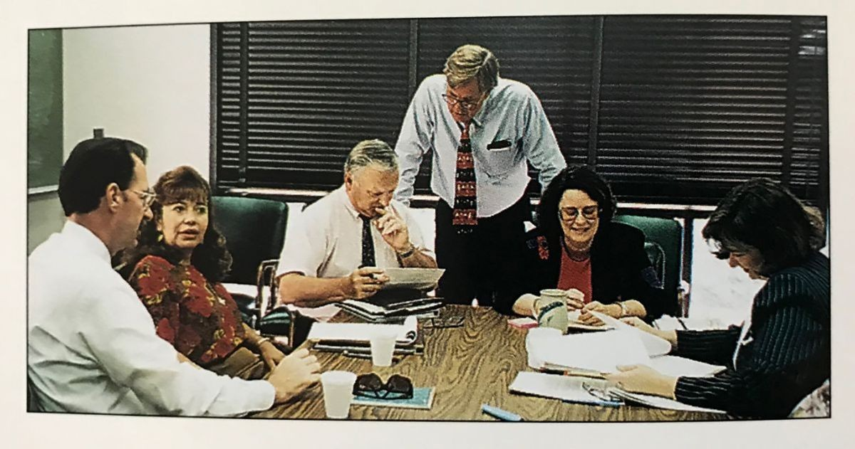Reyola Carlisle and staff in CSUMB's first office building in 1994.