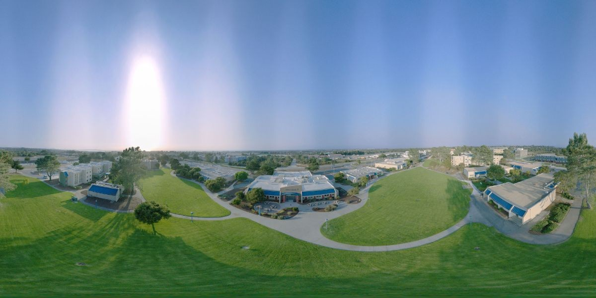 Photo: Aerial view of CSUMB's quad facing Main Dining