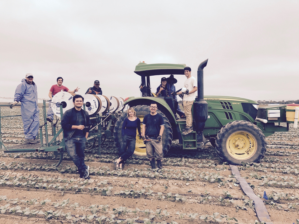 The lab posing with a tractor.