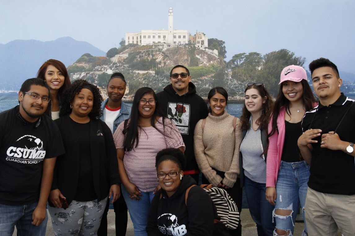 Guardian Scholars group photo on a trip to Alcatraz Island in San Francisco