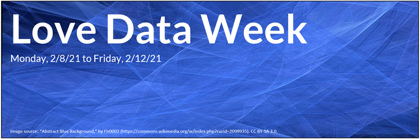 Love Data Week, Monday, 2/8/21 to Friday, 2/12/21