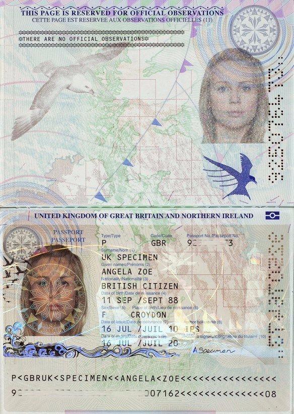 Passport bio page