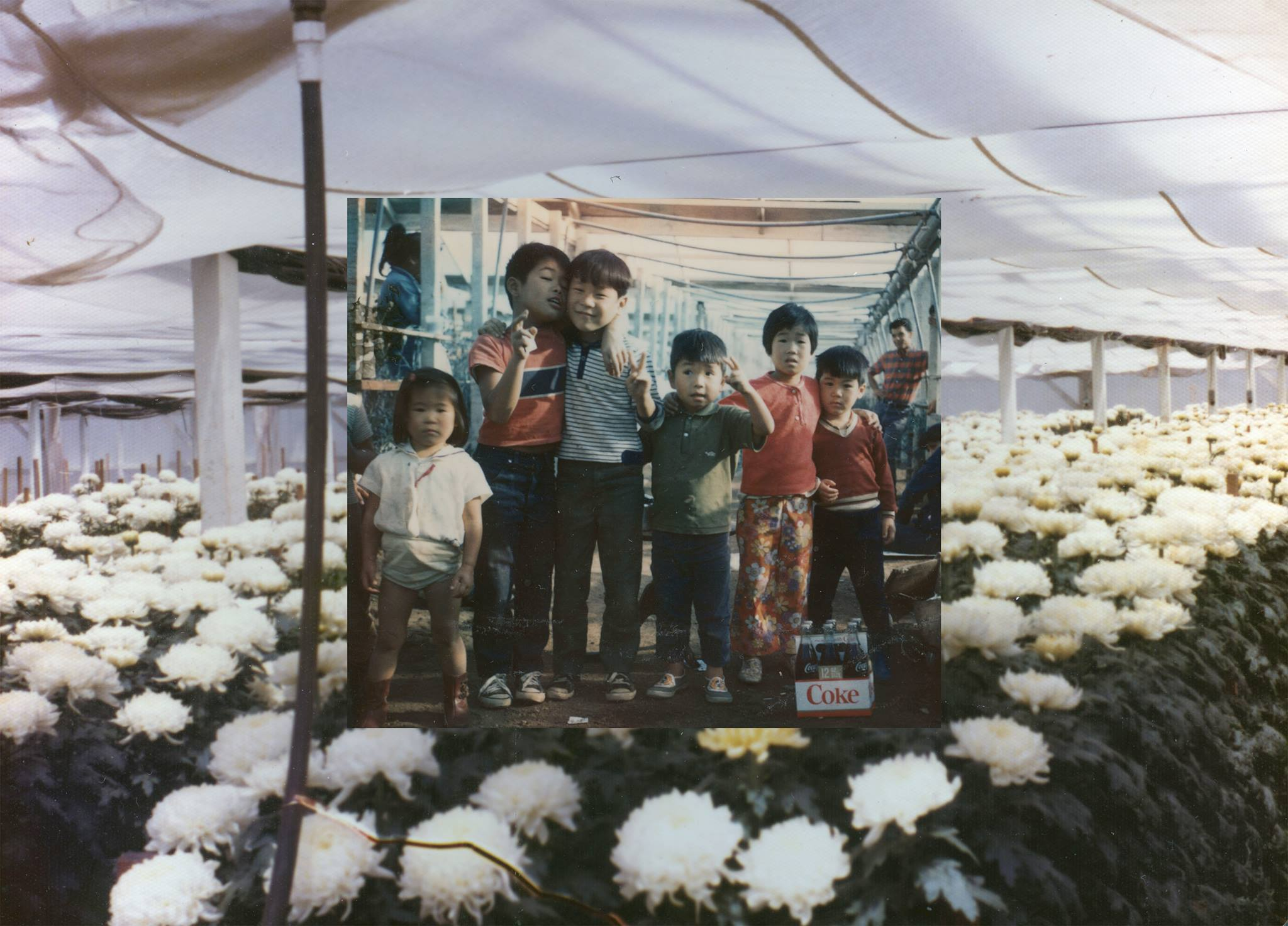 Photo of flowers and a group of children