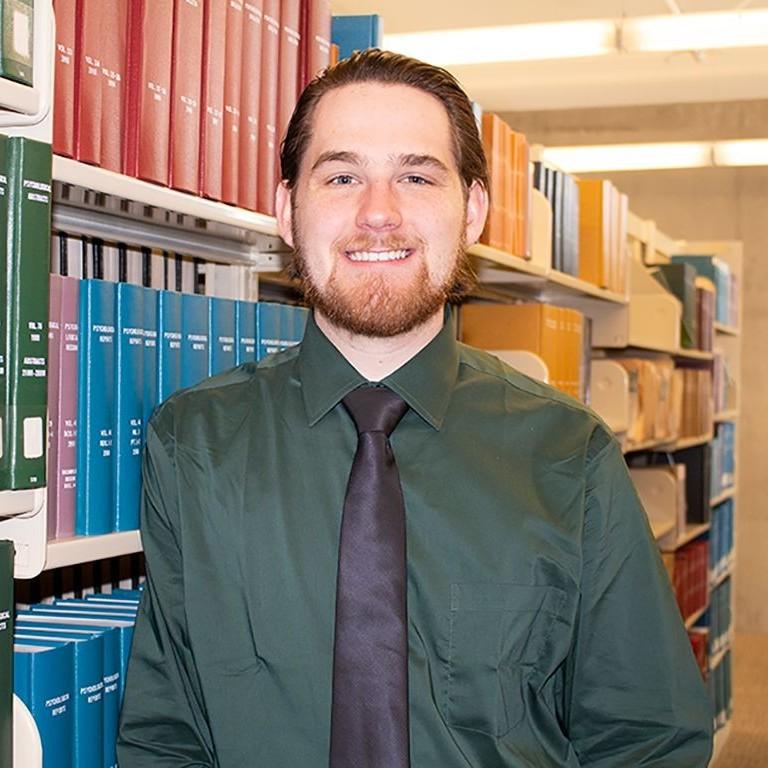 Nicholas Heyer in library