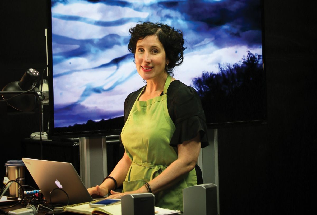 Filmmaker Enid Ryce in the Cinematic Arts & Technology studio at CSUMB.