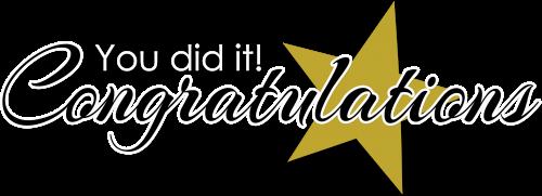 Congratulations you did it!
