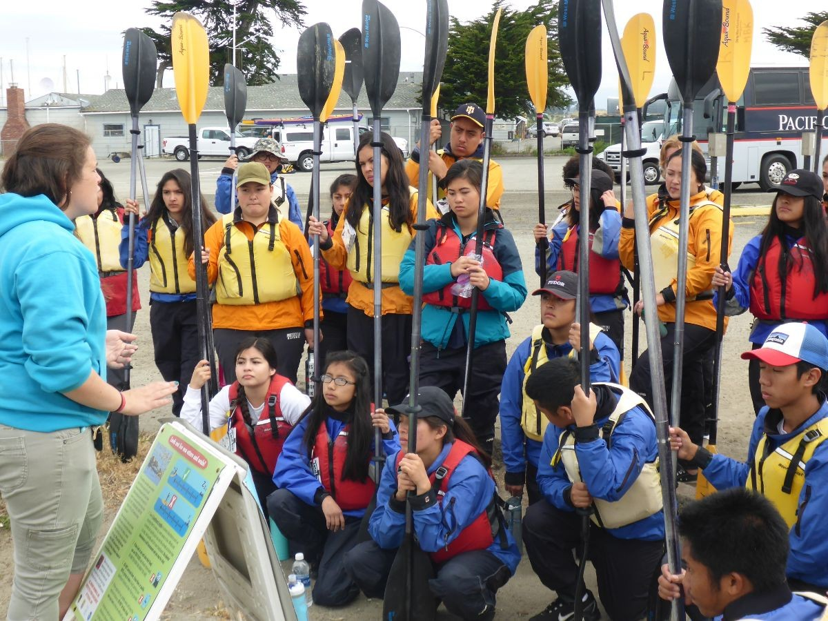 Students are instructed before kayaking in Elkhorn Slough.