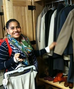 Student getting clothes at Otter outfitters
