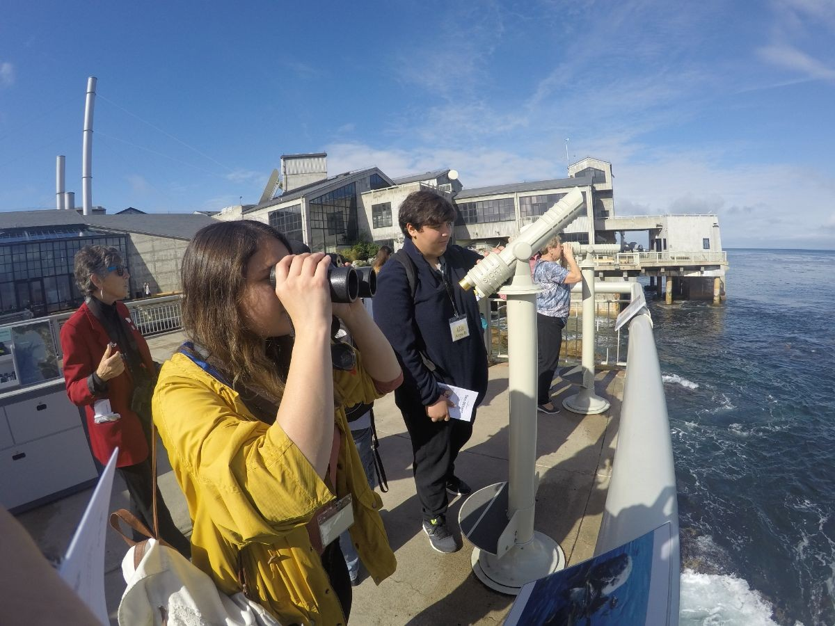 Students use binoculars to view sea animals from the Monterey Bay Aquarium.