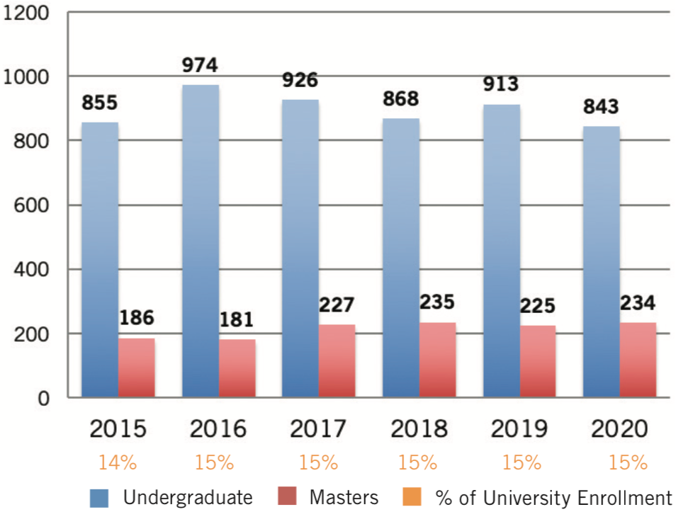 Bar chart showing enrollment by year from 2015 to 2020.